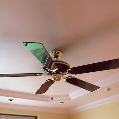 Dark Brown Lacquered Wood Fantasia Ceiling Fan