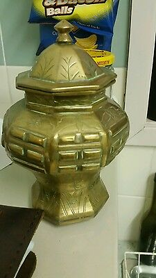 Old Made In China  Tea Caddy Brass Antique Collectable Coffee Asian Oriental 1St