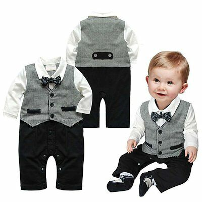 Toddlers Kids Baby Boys Bowknot Gentleman Romper Jumpsuit Clothes Outfit 0-24M