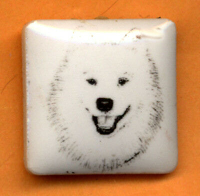 Samoyed ceramic  pin art by Monique Akar