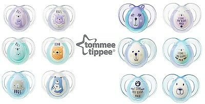 Tommee Tippee Night Time Soothers Glow Handle Dummy Closer to Nature 0-18m x2
