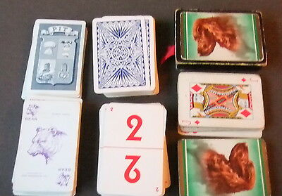 Vintage playing cards x 3 packs - Pit (Bear), Gambo and pictorial set in box