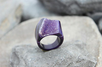 Druzy amethyst ring carved gemstone stone drusy unique stone hand made us 5.25