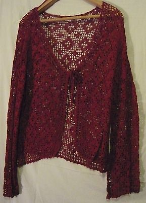 Ladies Vintage crocheted lacy evening cardigan Size Medium Red 1980s