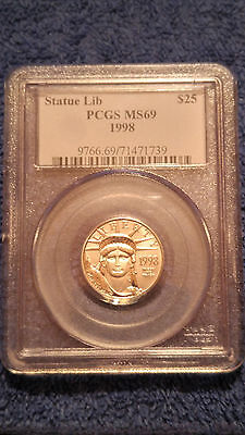 1998 $25 (1/4 oz) American Statue of Liberty Platinum Coin - PCGS MS69