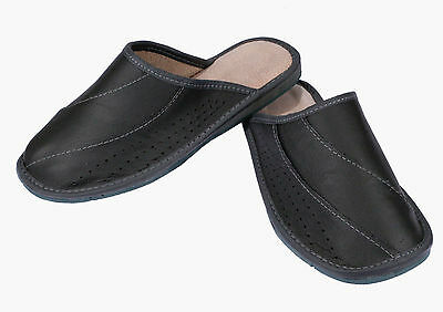 Graphite Mens Slippers 100% Real Genuine Leather Flipflop Mules Sandals Size 8