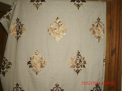 "Single Cream Oatmeal Polyester Cotton Lined Curtain & Gold Motifs  67""Wx51""L"