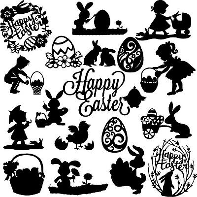 Die Cut Out Silhouette - Easter, topper x 18 card making, scrapbook, Fairy jar,
