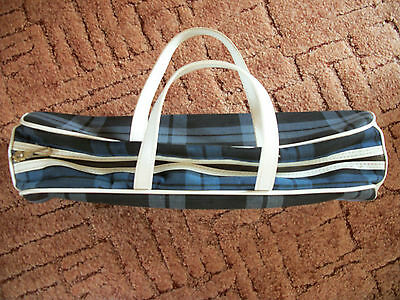 Vintage Retro Knitting Bag Blue Checks With White Trim,knitting Needle Bag