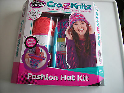 Cra.z.knitz Fashion Hat Kit,with Loom, Yarn, Hook And Needle,new