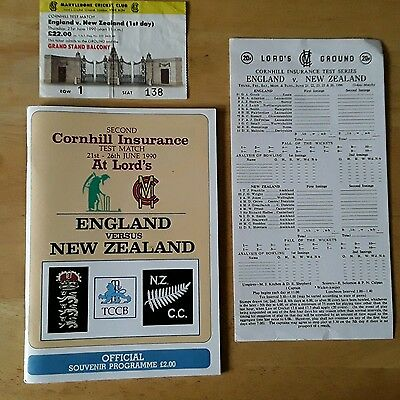 England V New Zealand 2Nd Test Match Lord's June 1990 Programme Card Ticket Stub