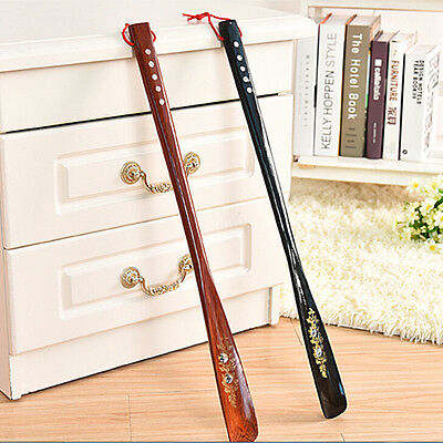 New Flexible Long Handle Shoehorn Shoe Horn AID Stick Wooden 55cm