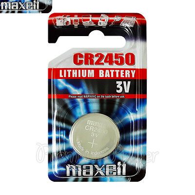 1 x Maxell Lithium CR2450 battery 3V Coin Cell DL2450 BR2450 EXP:2021 Pack of 1