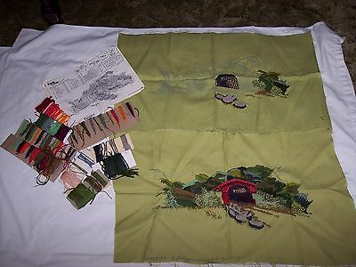 "Vintage Paragon Crewel Embroidery  ""COVERED BRIDGE"" ~ Lot of 2"