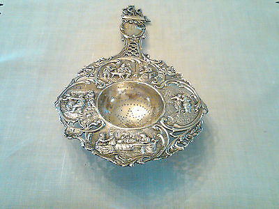 Dutch Silver VR Ornate Tea Strainer Hallmarked