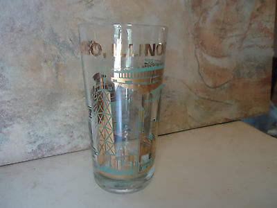 "Collectable Chicago, Illinois Skyline Drinking Glass 5 1/2"" Tall"