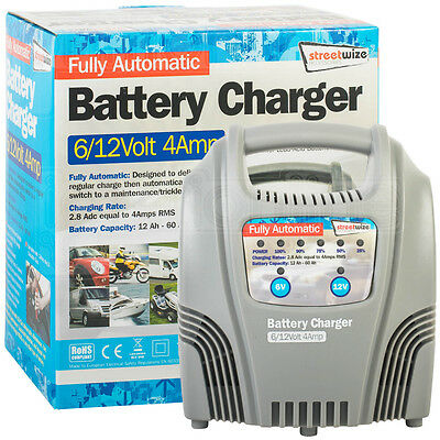 Streetwize Fully Automatic Battery Charger 6/12Volt 4Amp Trickle Car Motorcycle