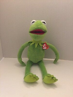 """Ty Kermit the Frog Beanie Buddies 16"""" With Tags Sesame Street Muppets Plush"""