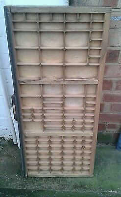 vintage Print tray printers wooden type case drawer with brass corner clips.