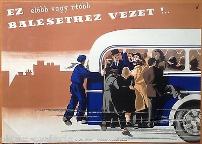 ORIGINAL 1950s HUNGARIAN BUS SAFETY POSTER # 1
