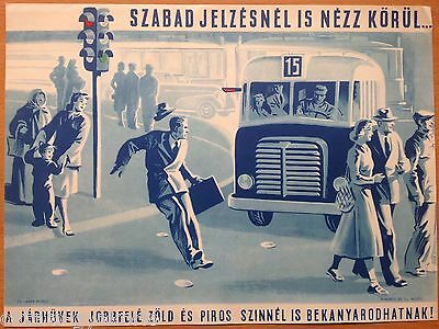 ORIGINAL 1950s HUNGARIAN BUS SAFETY POSTER # 2