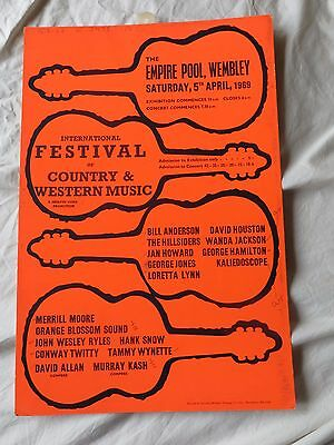 Very Rare 1969 International Country Music Festival Poster 1969 Wembley