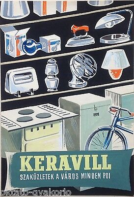 ORIGINAL 1950s HAND-PAINTED DESIGN, HUNGARIAN POSTER, KERAVILL SPECIALITY STORE