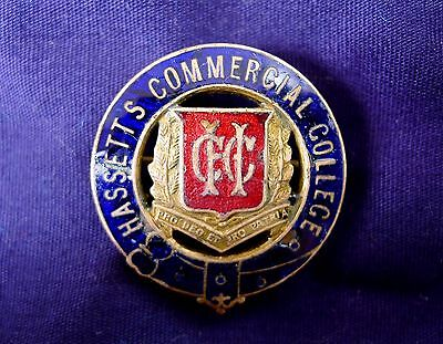 Vintage Melbourne College Badge; Hassett's Commercial College. Stokes & Sons.