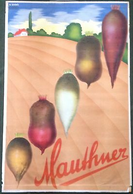 ORIGINAL 1930s HUNGARIAN ADVERTISING POSTER: MAUTHNER VEGETABLES