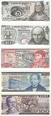 Mexico 5 10 20 50 & 100 Pesos NEUF UNC Uncirculated Banknote Set - 5 pcs
