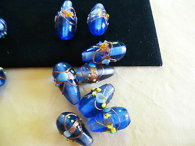 Murano Beautiful Blue Glass Beads Plus Clear Glass Selection