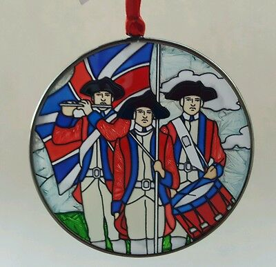 Colonial Willliamsburg Fife drums Christmas Ornament New Stained Glass Faux NWT