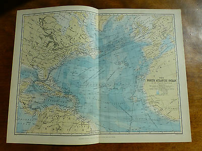 1874 ENGRAVING MAP The NORTH ATLANTIC OCEAN by J. BARTHOLOMEW West Indies USA GB