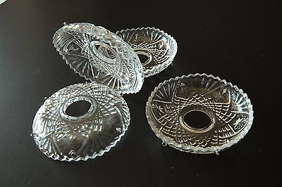 4 Pieces Full Faceted Lead Crystal Bobeches  Silver  Pins
