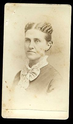 CDV Photo of Lady with Great Hair and Bow