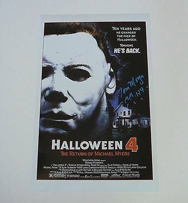 Halloween 4 11x17 Signed by Tom Morga Michael Myers Mask H4
