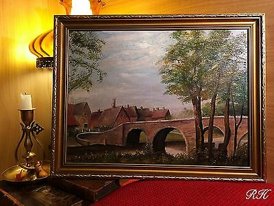 Vintage Oil Painting on Board Naive Style Signed Wooden Gilt Frame
