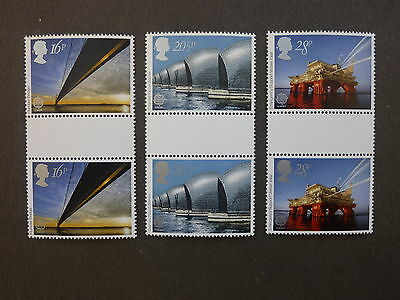 British Stamps NH  Engineering Achievements Gutter Pairs