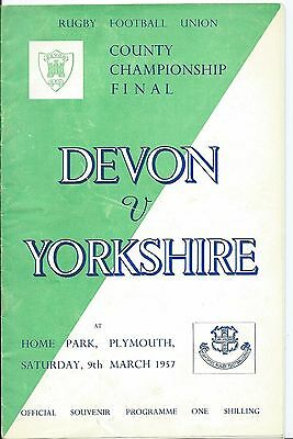 Rugby Union, Programme For Devon V. Yorkshire At Home Park Plymouth, 1957