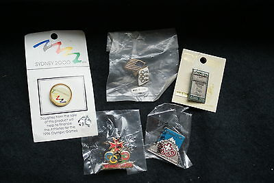 Olympic Games 5  Commemorative Collector Pin Badges Including Usa & Sydney 2000