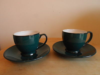 Denby Greenwich Coffee/espresso Cups And Saucers X2