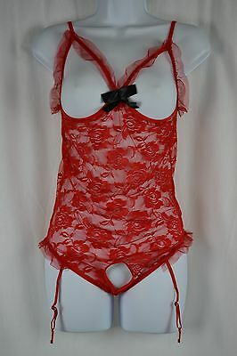 Transparent Lace Cami-Suspenders BODICE RED SIZE S