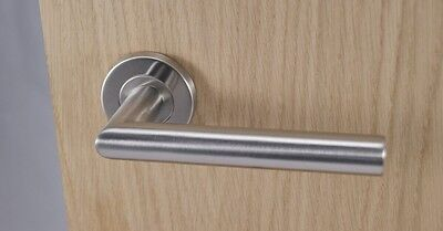 7 X Mitred Door Handle Pack (Internal Latch Set) Brushed Stainless Steel