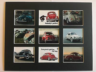 """VW BEETLE RETRO PROGRAMMES POSTER PICTURE MOUNTED 14"""" By 11"""" READY TO FRAME"""
