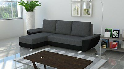 Brand New MALIBU Corner Sofa Bed With Storage in GREY AND BLACK FAST Delivery