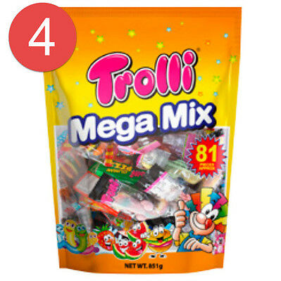 4 x Trolli Mega Mix 81 Pieces Bag 851g Candy Gummy Lollies Sweets Buffet Party
