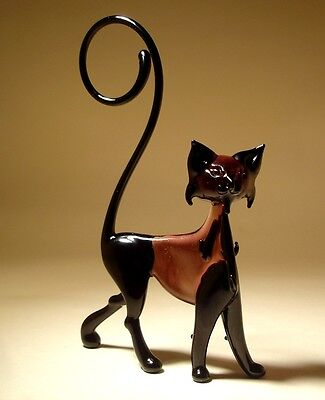 """Blown Glass """"Murano"""" Art Figurine Animal Black and Purple Cat with Curled Tail"""