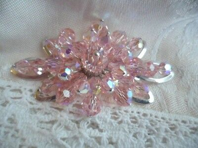 Vintage Donald Simpson Jewel Crest Jewelcrest Pink Glass Crystal Bead Brooch
