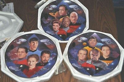 set of 3-HAMILTON COLLECTABLE-STAR TREK:30 YEARS-CAPTAIN'S;SECOND'S,&NAVIGATOR'S