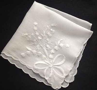 "Lilly of the Valley & Bow scalloped Edges Bridal Handkerchief 10 3/4"" x 10 3/4"""